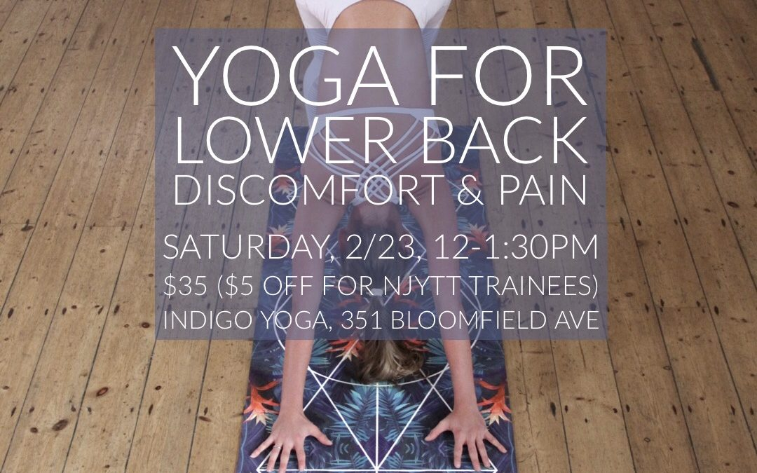 Yoga for the Lower Back at Indigo Yoga, 351 Bloomfield Avenue in Caldwell