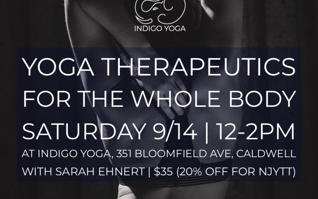 Therapeutics for the Whole Body at Indigo Yoga, 351 Bloomfield Ave