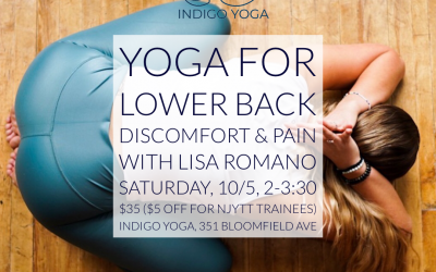 Yoga for the Lower Back at Indigo Yoga, 351 Bloomfield Ave in Caldwell with Lisa Romano